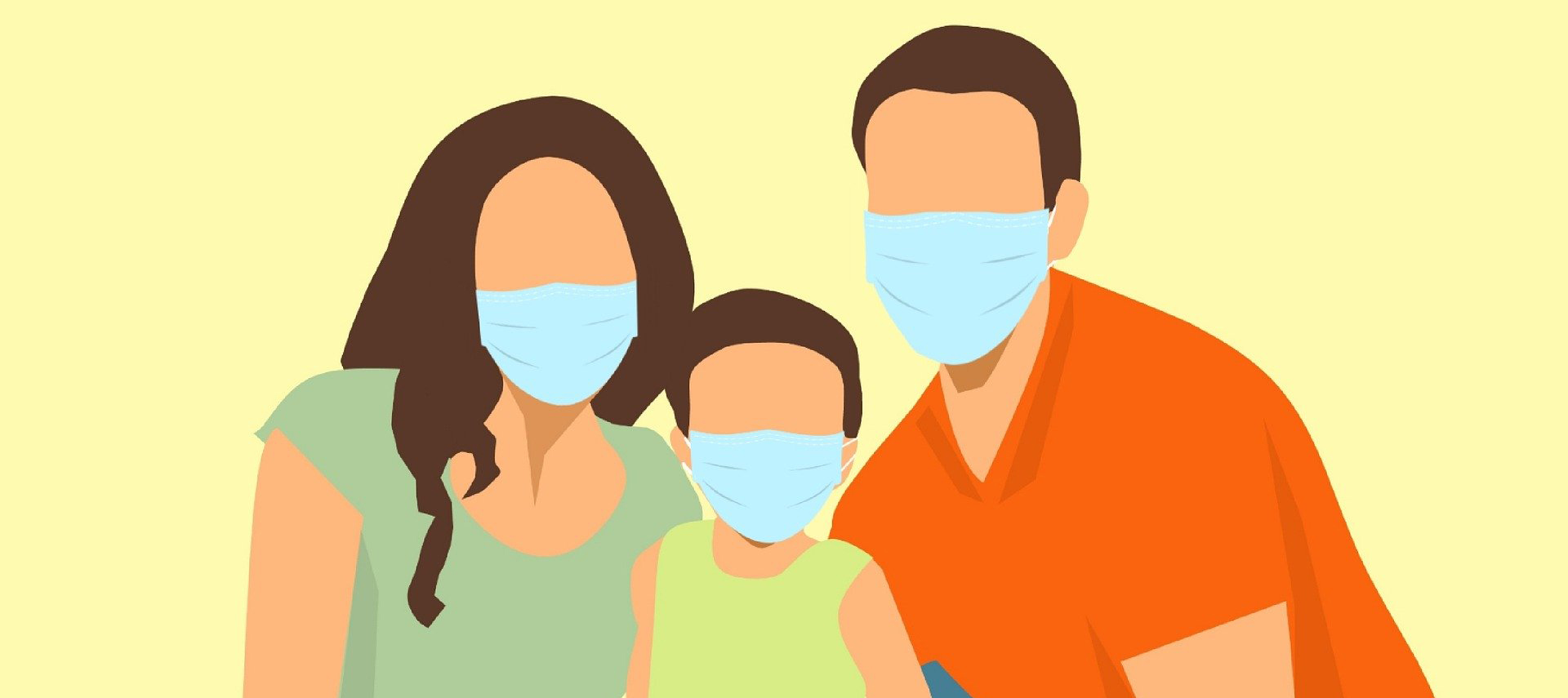 Familie mit Masken